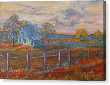 Split Rail Fence Canvas Print - View Of The Old Farmhouse by Kathy Peltomaa Lewis