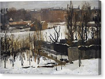 View Of The Oosterpark, Amsterdam, In The Snow, 1892, By George Hendrik Breitner 1857-1923 Canvas Print by Bridgeman Images