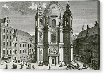 View Of The Peterskirche, Vienna Engraved By Johann Bernard Hattinger Canvas Print