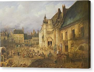 View Of The Place De Lhotel De Ville, Saint-omer, 1832 Oil On Canvas Canvas Print by Charles Goureau