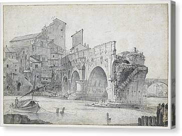 View Of The Ponte Rotto And Trastevere Rome Italy Canvas Print