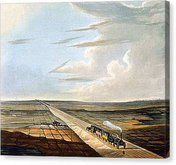 View Of The Railway Across Chat Moss Canvas Print by Thomas Talbot Bury