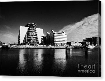 View Of The River Liffey And The Convention Centre Dublin Republic Of Ireland Canvas Print by Joe Fox