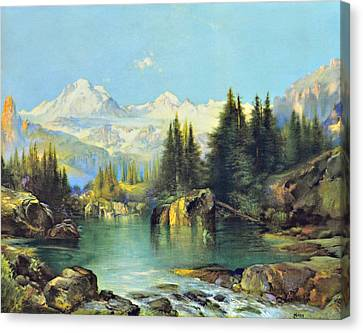 Thomas Moran Canvas Print - View Of The Rocky Mountains by Susan Leggett