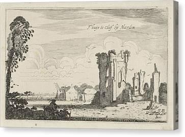 View Of The Ruins Of Huis Ter Kleef, Haarlem The Netherlands Canvas Print by Jan Van De Velde (ii) And Robert De Baudous