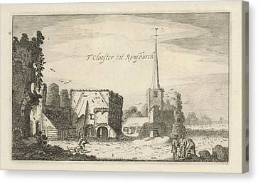 View Of The Ruins Of The Abbey Of Rijnsburg Canvas Print by Jan Van De Velde Ii And Robert De Baudous