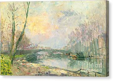 Charles River Canvas Print - View Of The Seine Paris by Albert Charles Lebourg