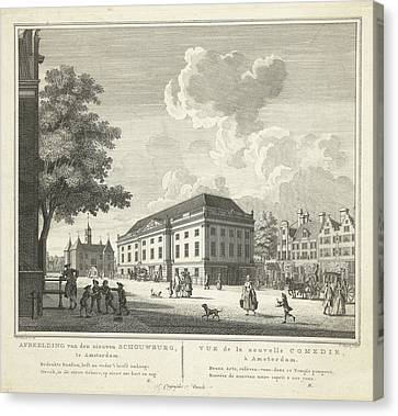 View Of The Square For The New Theater, Nieuwe Schouwburg Canvas Print by Cornelis Bogerts And Theodore Crajenschot