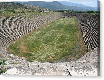 Aphrodisias Canvas Print - View Of The Stadium From The West by Tracey Harrington-Simpson