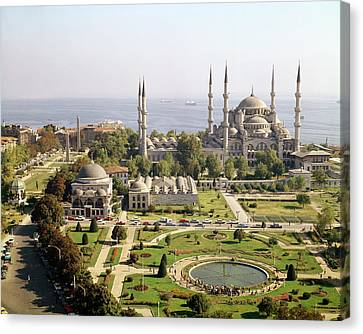 View Of The Sultan Ahmet Camii Blue Mosque Built 1609-16 Photo Canvas Print by Mehmet Aga