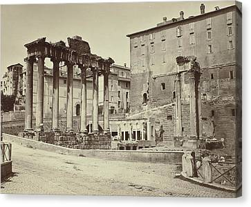 View Of The Temple Of Saturn In The Roman Forum Canvas Print by Artokoloro