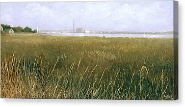View Of The Thames From Rainham Marsh Canvas Print