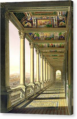 View Of The Third Floor Loggia Canvas Print by Italian School
