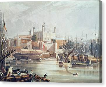Yachts Canvas Print - View Of The Tower Of London by John Gendall