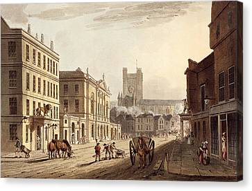 View Of The Town Hall, Market And Abbey Canvas Print by John Claude Nattes
