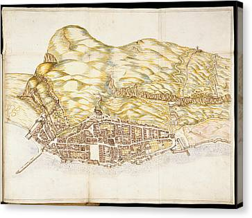 View Of The Town Of Gibraltar Canvas Print by British Library