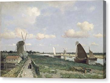 View Of The Trekvliet Canal Near The Canvas Print by Johannes Hendrik Weissenbruch