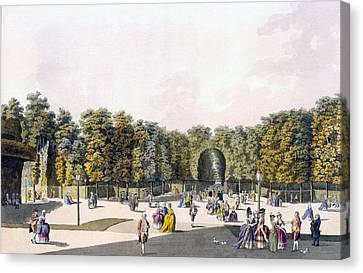 Pleasure Canvas Print - View Of The Walk Of Sighs At Augarten by Johann Ziegler