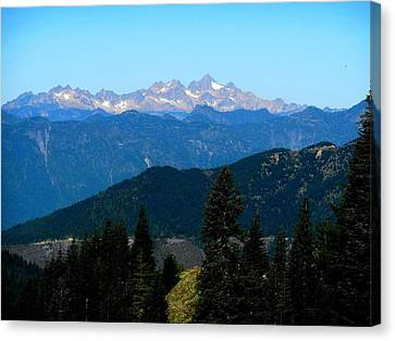 View Of Twin Sisters From Sauk Mountain Canvas Print