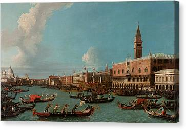 View Of Venice With The Doge Palace And The Salute Canvas Print by Canaletto