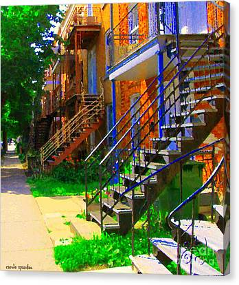 View Of Verdun Steps Stairs Staircases Winding Through Summer  Montrealstreet Scenes Carole Spandau Canvas Print by Carole Spandau
