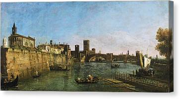 View Of Verona With The Castelvecchio And Ponte Scaligero Canvas Print by Celestial Images