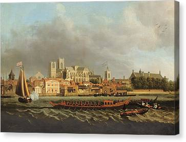 View Of Westminster From Lambeth With A Royal Barge In The Foreground Oil On Canvas Canvas Print by Samuel Scott