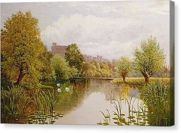 View Of Windsor From The Thames Canvas Print by John Atkinson