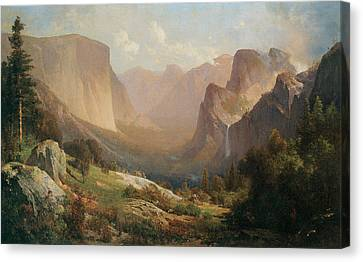 View Of Yosemite Valley Canvas Print by Thomas Hill
