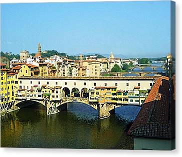 View On Ponte Vecchio From Uffizi Gallery Canvas Print by Irina Sztukowski