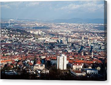 View On Stuttgart From Birkenkopf Canvas Print by Frank Gaertner