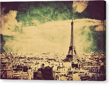 View On The Eiffel Tower And Paris France Retro Vintage Style Canvas Print by Michal Bednarek