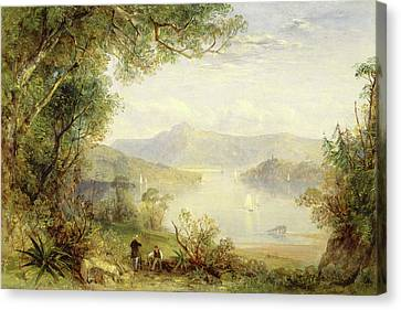 View On The Hudson River, Thomas Creswick Canvas Print by Litz Collection