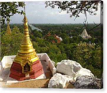 Canvas Print featuring the photograph View Over Ancient City Of Mandalay Aungmyaythazan From Mandalay Hill Mandalay Burma by Ralph A  Ledergerber-Photography