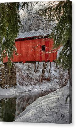 Solitude Canvas Print - View Through The Boughs Of Vermont Covered Bridge by Jeff Folger