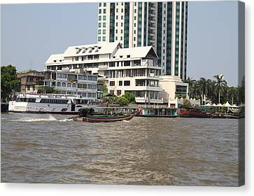 Views From A River Boat Taxi In Bangkok Thailand - 01136 Canvas Print by DC Photographer