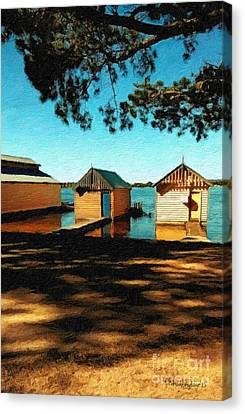Views From The Lake II - Boathouses Canvas Print by Chris Armytage