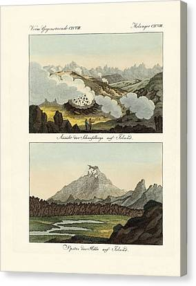 Views Of The Sulphur Mountains In Iceland Canvas Print by Splendid Art Prints