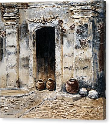 Canvas Print featuring the painting Vigan Door by Joey Agbayani