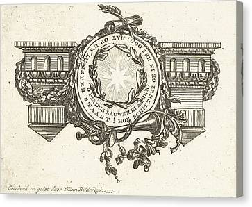 Vignette With Architrave And Medallion With Star Canvas Print by Willem Bilderdijk