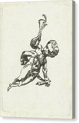 Vignette With Putto With Trumpet And Palm Canvas Print by Willem Bilderdijk