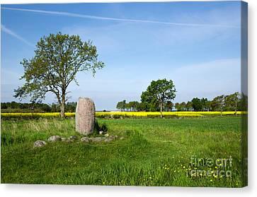 Canvas Print featuring the photograph Viking Age Runic Stone by Kennerth and Birgitta Kullman