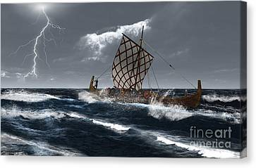 Viking Longship In A Storm Canvas Print by Fairy Fantasies