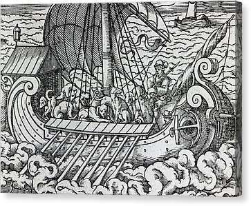 Viking Ship Canvas Print by German School