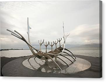 Viking Ship Sculpture Canvas Print by Ashley Cooper