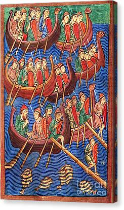 Seafarer Canvas Print - Vikings Invade England 9th Century by Photo Researchers