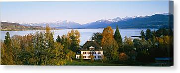 Villa At The Waterfront, Lake Zurich Canvas Print by Panoramic Images
