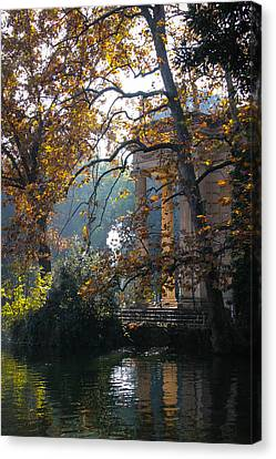 Canvas Print featuring the photograph Villa Borghese Park by Glenn DiPaola