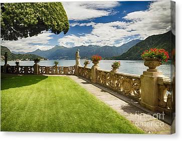 Villa Garden View On Lake Como Canvas Print by George Oze