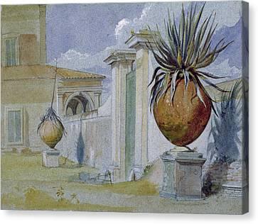 Villa Massimi, Rome Wc & Bodycolour On Paper Canvas Print by Harry John Johnson